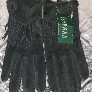 RL suede fringed Gloves sz small